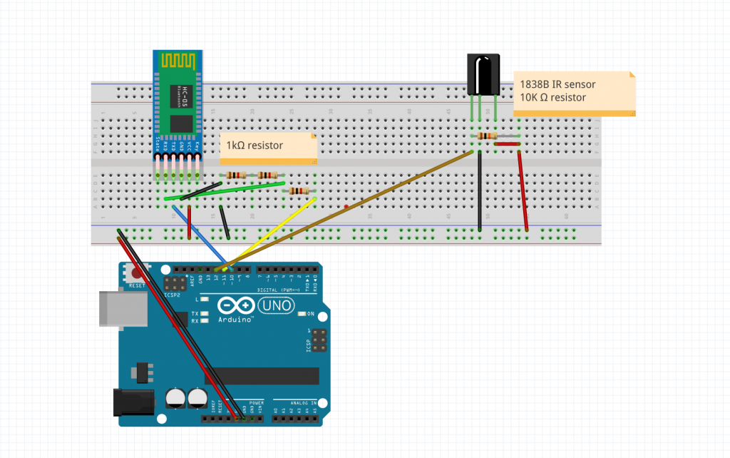Arduino schematic for the bluetooth and IR module.
