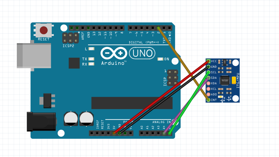 MPU 6050 wiring on an arduino UNO board